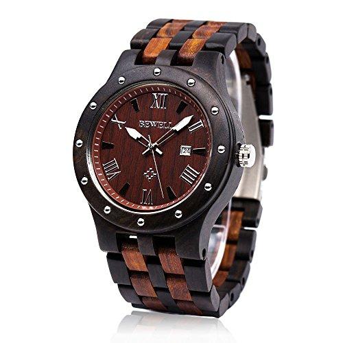 orologio polso legno Orologio di Legno con quadrante rotondo in legno fascia Bewell W109A analogico orologio da polso