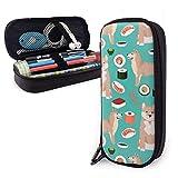 Grande capacité Étui à crayons Étui sac stylo titulaire de la poche Grand organisateur de stockage pour fournitures scolaires Office College (Shiba Inu et Sushi)