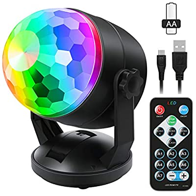 [2-Pack] Sound Activated Party Lights with Remote Control Dj Lighting, RBG Disco Ball Light, Strobe Lamp 7 Modes Stage Par Light for Home Room Dance Parties Bar Karaoke Xmas Wedding