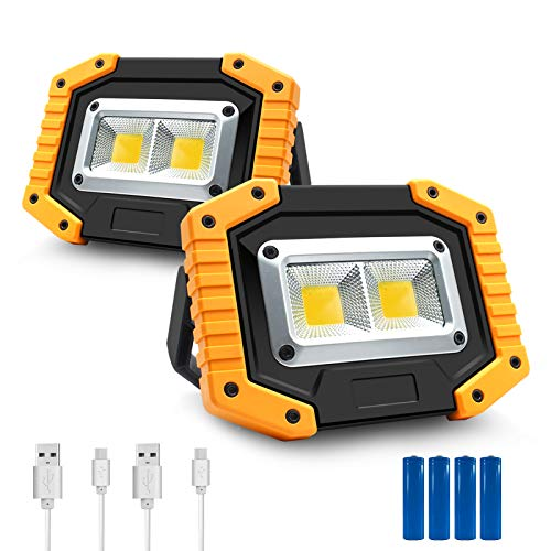 Portable LED Work Light, 30W 1500LM Rechargeable Waterproof COB Floodlight with Stand Built-in Power for Outdoor Camping Hiking Emergency Car Repairing and Indoor Job Site Lighting (2Pack-Yellow)