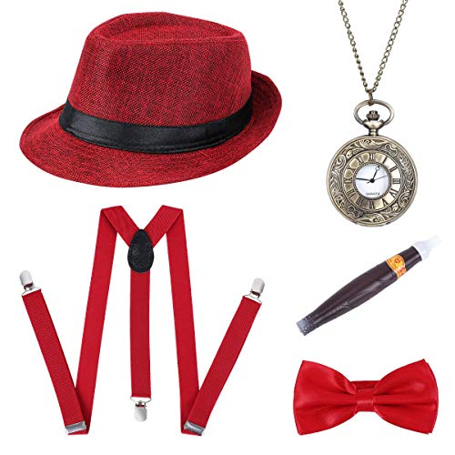 BOER 1920s Herren Accessoires - Gatsby Kostümzubehör Set Mit Panama Gangster Hut Verstellbar Y-Back-Hosenträger Fliege Halsschleife Taschenuhr Und Plastik-Zigarre (Rot)