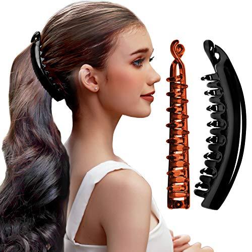 RC ROCHE 2 Stück Pferdeschwanz Haarklammer Haarspange Bananenspange Damen Hochwertig Robust für Mehr Volumen, Groß Schwarz und Braun