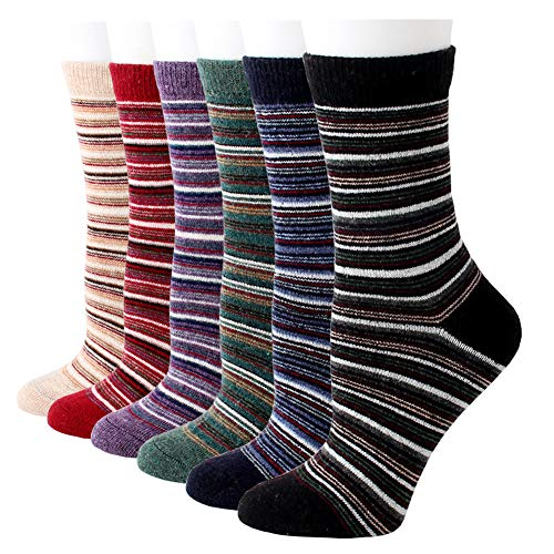 Women Winter Socks Wool Cashmere Warm Casual Crew Socks Novelty Pattern, One Size, 6 Pairs Stripe