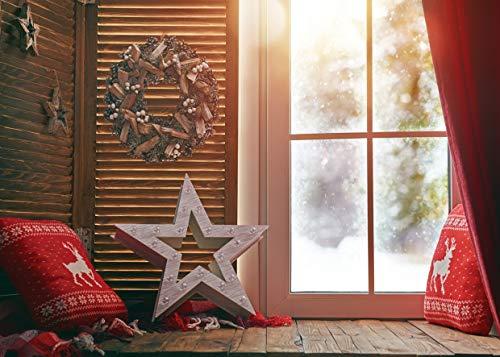AIIKES 7x5FT Vinilo Navidad Telón de Fondo Navidad Guirnalda Ventana Fotografía Fondo Copo Nieve Reno Almohada Disparar Telones de Fondo Invierno Año Nuevo Interior Photo Booth Studio Props 11-729