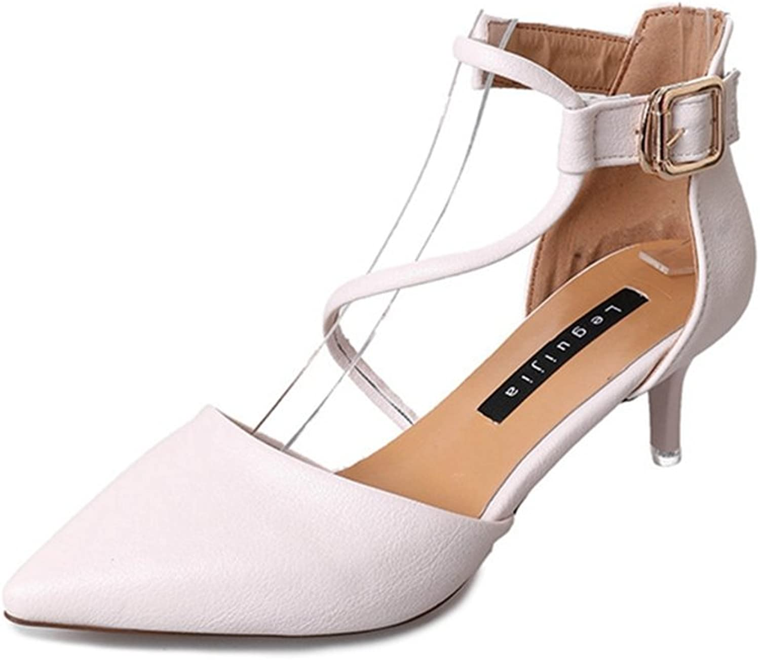 Zarbrina Womens Mid Heels Stiletto Sandals Ladies Fashion Pointed Toe Adjustable Ankle Strap Dress shoes
