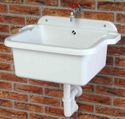 Fregadero, incluye tubos de desagüe, tornillos y tacos para montaje en pared