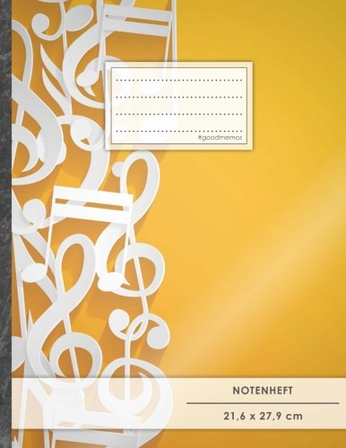 """Notenheft: DIN A4 • 48 Seiten, 24 Blatt, 12 Systeme, """"Musicnotes"""" • Original #GoodMemos Schulheft • Mit Inhaltsverzeichnis und Seitenzahlen, Noten-Lineatur 14"""