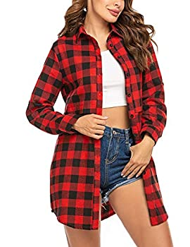 Hotouch Flannel Shirt Women Blouses Tops Buffalo Check Plaid Long Sleeve Casual Button Down Shirts Red & Black M