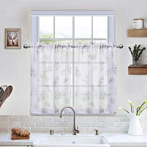 """CAROMIO Sheer Kitchen Tiers Curtains, Leaves Pattern Sheer Short Bathroom Window Curtain, Half Window Covering Voile Tier Curtains, 27"""" x 30"""", 2 Panels"""
