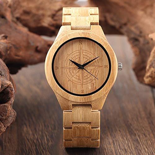 RWJFH Reloj de Madera Reloj Grabado con diseño de brújula único para Hombre, Reloj de Pulsera de Cuarzo de Madera con luz Pura para Hombre, Relojes de Pulsera de Cuarzo de Madera para Hombre, Regalo