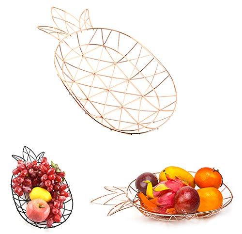 Femongy Cocina Plato de frutas, Cocina Mesa de frutas Hogar Surtido de frutas Cesta de frutas Cesta de pan Cesta de almacenamiento de artículos diversos fruteros de cocina, 36x26.5cm, Oro rosa