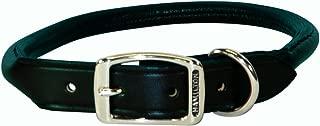 (1.9cm x 50cm , Black) - Hamilton Rolled Leather Dog Collar