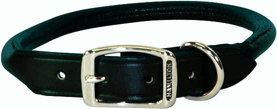 "Hamilton 3/4"" x 20"" Black Rolled Leather Dog Collar"