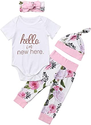 9fde02f6763 Hello I m New Here Newborn Baby Girl Clothes Outfit Short Sleeve Bodysuit  Tops+
