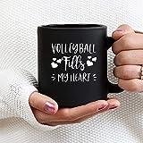 Tazza da caffè divertente Tazza da tè per uomini donne Tazza da caffè divertente Tazza da tè La pallavolo riempie il mio cuore Pallavolo Pallavolo, idee di pallavolo 11 once per uomini Donne Bambini