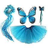 4 PC Girls Fairy Monarch Princess Costume Set with Wings, Tutu, Wand & Halo Turquoise Blue