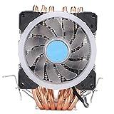 ASHATA Prozessorkühler, CPU Kühler 6 Heatpipes CPU Cooling Radiator Double Tower Prozessorkühler,RGB LED Lichteffekt PC CPU Ventilator Fan Computer Lüfter für AMD