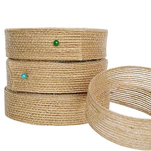Rollo de cinta de arpillera de yute de 2 cm para manualidades, envolver regalos, coronas, lazos, 30 m, color marrón, cinta natural vintage para decoración de Navidad, bodas, fiestas, etc.
