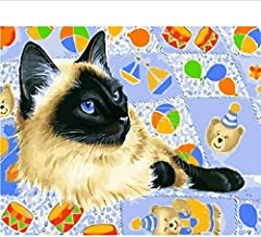 Frameloze Schilderen op Nummers Kleurplaten voor Home Decor Muur Decor Canvas Schilderen 40 * 50 Cm Liggend Kitty
