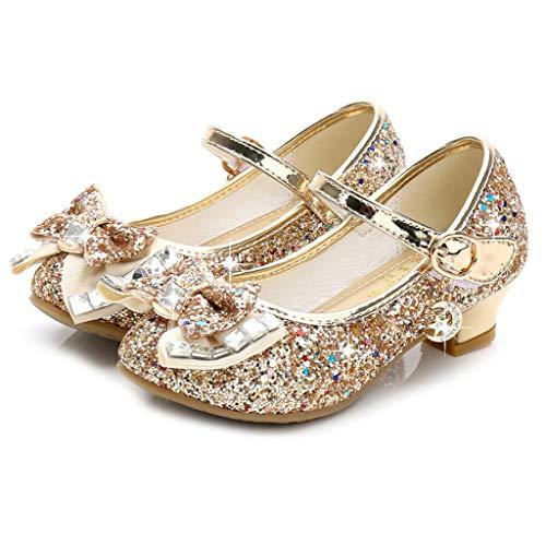 ELECTRI Chaussures de Bébé Fille Bowknot Perle Strass Chaussures en Cuir Chaussures de Princesse Chaussures Simples Chaussures de Cristal Sandales Talons Hauts