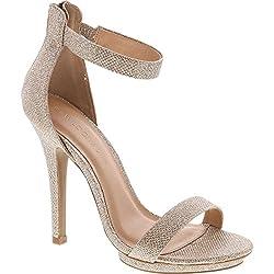commercial Wild Diva High Heels Stiletto Heels Women Open Toe Platform Sandals Ankle Strap 7.5 Gold Glitter wild diva pumps