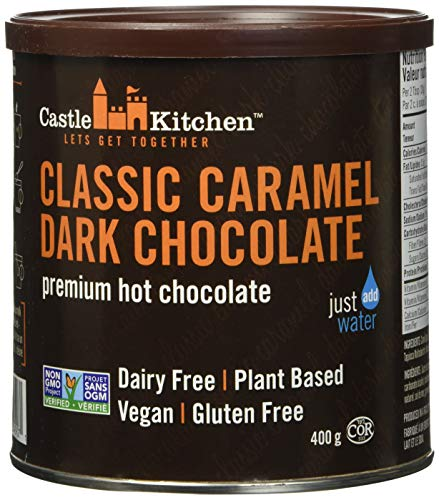Castle Kitchen Classic Caramel Dark Chocolate  DairyFree Vegan Premium Hot Chocolate Mix  Just Add Water  14 oz