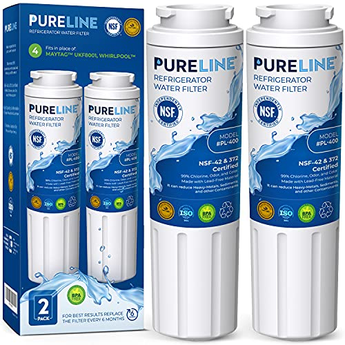 Pureline UKF8001 Water Filter Replacement for Everydrop Filter 4, UKF8001, UKF8001AXX-750, UKF8001AXX-200, Whirlpool 4396395, Kenmore 9084, 9006, Puriclean II, and Many More Models (2 Pack)