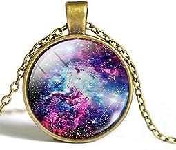 Coollooda Jewellery Necklace Starry Sky Pendant Glass Universe Steampunk Style 3