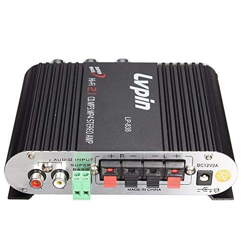 Festnight Amplificatore autoradio della Macchina Mini HIFI Ricevitore Audio Stereo Energia Amplificatore Subwoofer MP3 Autoradio Canali Super Bass Lvpin 838