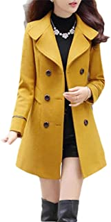 Macondoo Women's Fashion Trench Coat Outerwear Double-Breasted Peacoats