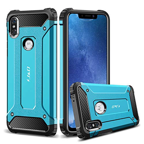 J&D Case Compatible for Moto One/Moto P30 Play Case, Heavy Duty [ArmorBox] [Dual Layer] Shock Resistant Hybrid Protective Rugged Case for Motorola Moto One, Motorola Moto P30 Play Case - Blue