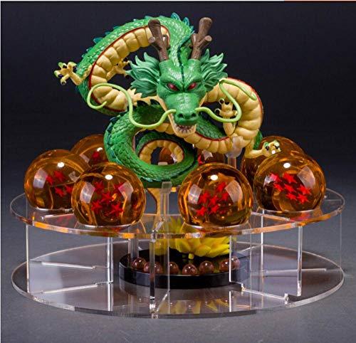 mswdm Escultura De Resina Artística Figuras De Dragon Ball Z Shenron Figura De Acción Shenlong Dragon Ball con Bolas Set + 7Pcs Crystal Dragonballs 15.5X12.5Cm
