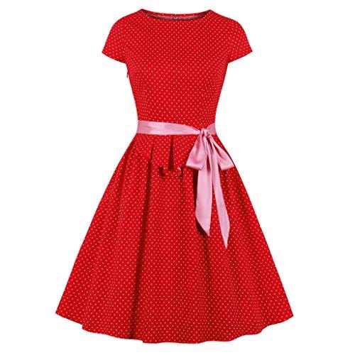 Auifor vrouwen Bhon Printing korte mouwen plissé retro jurk met korte mouwen