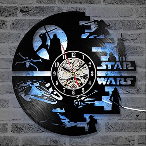"SOKIMI Kreative Star Wars Schallplatte Wanduhr 3D 12""(30 cm) CD Modernes Design Kunst LED Uhr Horloge Home Living Decor,F1,Withlights"