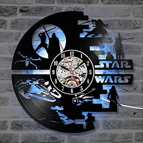 SOKIMI - Reloj de Pared 3D con diseño Creativo de Star Wars, 12 Pulgadas (30 cm) en CD, diseño Moderno, Reloj de Arte LED, decoración para el hogar, F1, Withlights