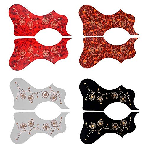 Nrpfell 4 Pares de Golpeadores de Guitarra PVC Estampado de Flores Colorido Guitarra Pick Guard Scratch Plate para la MayoríA de las Guitarras Folk AcúSticas