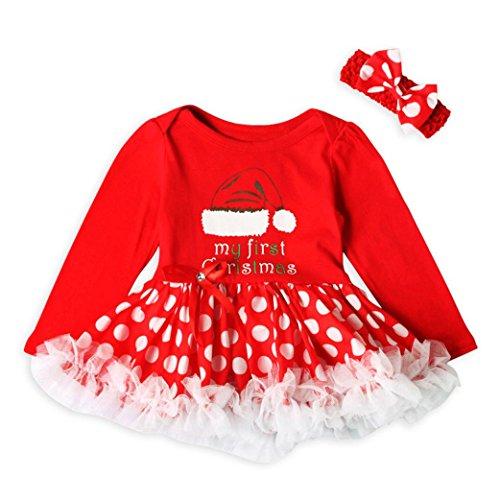Kolylong Kleid mädchen 1 Set (3-18 Monate) Kinder Baby Mädchen Weihnachten Drucken Prinzessin Kleid Tutu Kleid Party Kleid Neujahr Kleid Christmas Kostüm Outfits (80CM(3-6 Monate), Rot-d)