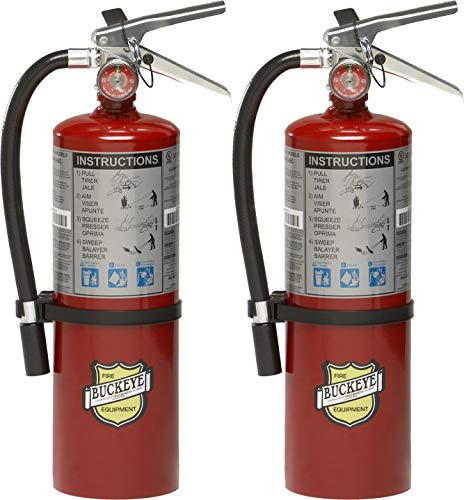 2-Pack Buckeye 10914 ABC Multipurpose Dry Chemical Hand Held Fire Extinguisher with Aluminum Valve and Wall Hook