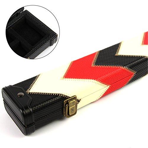 Funky Chalk Luxury Red White & Black 2pc Pool Snooker Cue Case-for Centre Joint Cues, Funky Gesso Rosso, Bianco e Nero, 2 Pezzi Biliardo, per Stecche centrali Unisex-Adulto