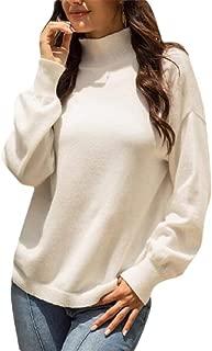 Women's Turtleneck Jumper Tops Long Sleeve Solid Color Knit Sweater