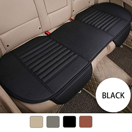 YIRU Premium PU Leather Car Seat Cover - Car Rear Bench Seat Cushion Cover Pad Mat Filling Bamboo Charcoal, Fit 95% of Vehicles, Non-Slip Bottom & Storage Pockets - 53.15'' x 19.29'' Black