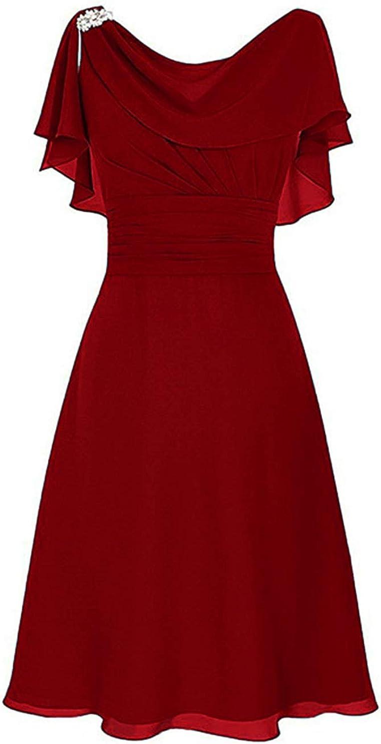 Awishwill Women's Chiffon Beaded Elegant Formal Dress Short Mother of The Bride Dresses