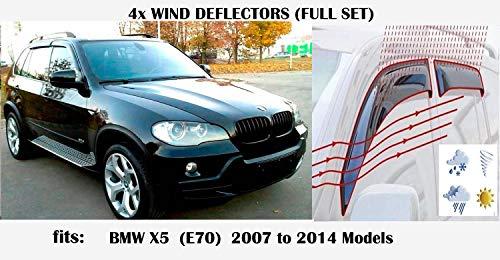 OEMM Windabweiser, kompatibel mit BMW X5 X5M E70 5-Türer Crossover SUV 2007 2008 2009 2010 2011 2012 2013 2014, Acrylglas, Seitenvisier, Fensterabweiser.