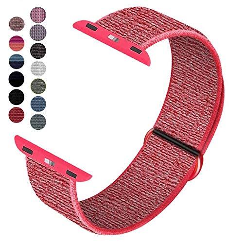 Dapo-Correa Compatible con Watch Sport Loop 38/40mm 42/44mm, Correa de Reemplazo de Nylon Suave Transpirable Compatible con Series 5/4/3/2/1 (42/44mm, Rojo)