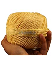 AZUKA® Nylon Twine Rope Balls 2mm X 100 yard for Utility Rope | Clothline | cloth drying rope -GOLDEN YELLOW (PACK OF 4)