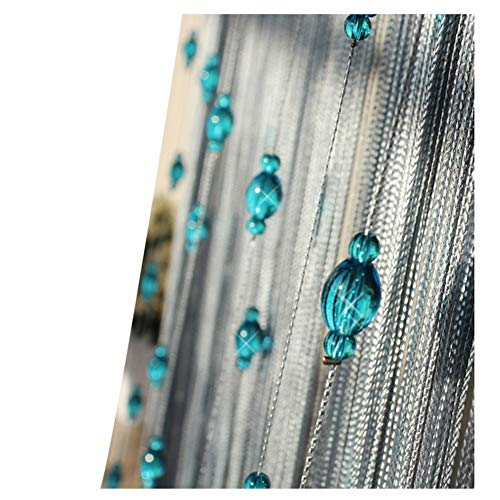 WYAN Perlas de Cristal de Cuentas Cortina de la Secuencia con la Cadena de la Borla de Las Cortinas for Puertas Paneles for la Pared de Puertas y Ventanas Decoración, Azul (Size : A 1.2x2.75m)
