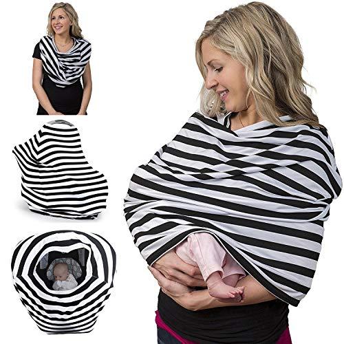 ALIXIN-Toalla para lactancia al aire libre,cubierta y delantal de bufanda de lactancia,fundas para carros con asiento para cochecito de bebé,manta para bebés,poncho para bebés. (Negro)