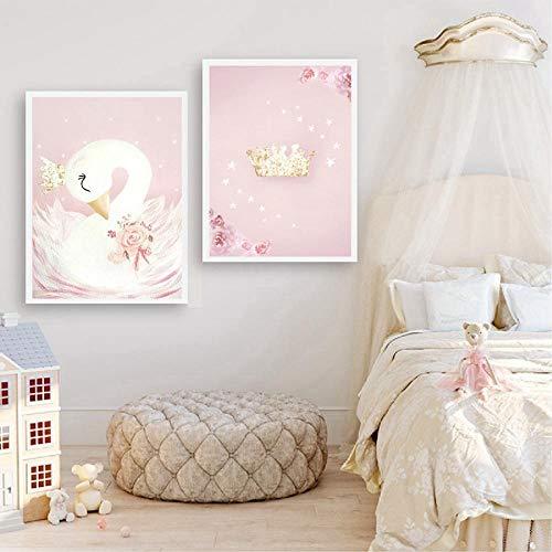 ZYQYQ Swan Princess Posters Canvas Painting Baby Girls Room Wall Art Prints Nursery Kids Girl Room Decoración Imagen 40x60cmx2 Sin marco
