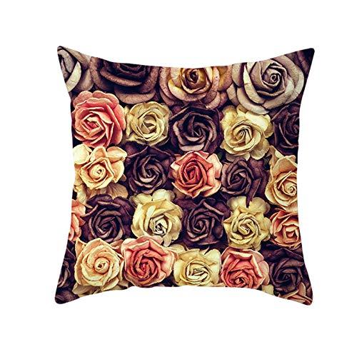 KnBoB Funda de Cojin Poliéster 50 x 50 cm Amarillo Rosa Marrón Lleno Rosas Estilo 2