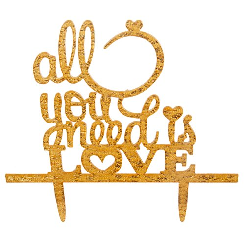 Moon Shine Personalized Silhouette Cake Topper Party Cake Decoration All Your Need Is Love, Gold